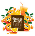 banner for fresh juice with funny oranges vector image vector image