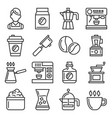 barista icons coffee drink equipment set vector image vector image
