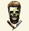 bearded barberman skull vector image vector image