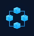 block chain icon made with four bright blue vector image