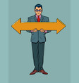 businessman man with arrow pointers direction to vector image