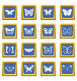 butterfly icons set blue vector image vector image