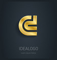 c and d initial gold logo metallic 3d icon