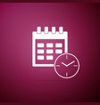 calendar and clock icon on purple background vector image vector image