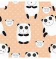 Cartoon pattern with cute panda guru in love vector image vector image