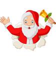 cartoon santa claus holding a bell vector image vector image