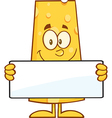 Cheese Cartoon Holding a Sign vector image vector image