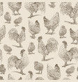 chicken rooster chickens sketch seamless pattern vector image vector image