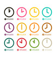 colorful clock icons set isolated on white vector image vector image