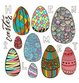colorful easter eggs set in doodle style holiday vector image vector image
