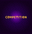 competition neon text vector image vector image