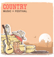 country music background with guitar and american vector image vector image