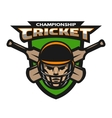 Cricket player beats sport emblem vector image