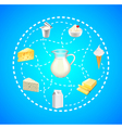 Dairy products in dashed lines circle on blue vector image vector image