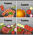 different types of menu on gray background vector image vector image