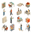 Documents Archive Library Isometric Icons Set vector image vector image