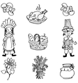 Doodle of Thanksgiving food and people vector image vector image
