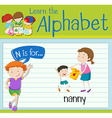 Flashcard letter N is for nanny vector image vector image