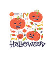 happy halloween greeting catd design autumn fall vector image vector image