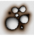 hole torn in ripped paper with burnt and flame vector image vector image