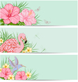 Horizontal tropical banners with flowers vector image vector image