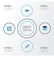 interface colorful icons set collection of url vector image vector image