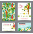 Invitation or Greeting Card Set - Tropical Birds vector image vector image