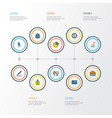 job icons colored line set with id badge growing vector image vector image