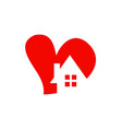 love heart house logo vector image vector image
