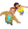 Man and woman looking surprised from the bottom up vector image