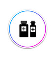 medical bottles icon isolated tablets symbol vector image