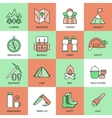 Mountain Climbing Linear Icon Set vector image vector image