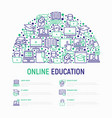 online education concept in half circle vector image vector image