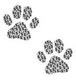 paw footprints collage of dollar and dots vector image vector image