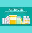 pharmacy antibiotic concept banner flat style