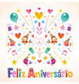 portuguese happy birthday vector image vector image