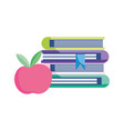 school stack books with apple isolated icon vector image