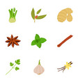 seasoning icons set cartoon style vector image