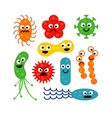 Set of cute funny bacterias isolated on white vector image vector image