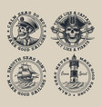 set vintage nautical on white background vector image