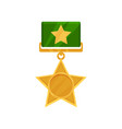 shiny star shaped medal with green ribbon vector image