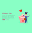 valentine post web banner with postman vector image vector image