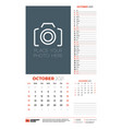 wall calendar planner template for october 2021 vector image vector image