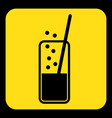 yellow black sign - carbonated drink straw icon vector image vector image