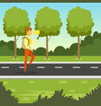 young man walking in the park and using smartphone vector image vector image