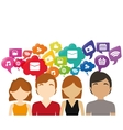 group chat bubble speech social media vector image