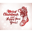 Merry Christmas and Happy New Year Xmas sock with vector image