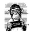 monkeys in a t-shirt holding a police department vector image