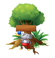 An elephant under the tree with a wooden signboard vector image vector image