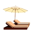 awning umbrella lounger leisure chaise vector image vector image
